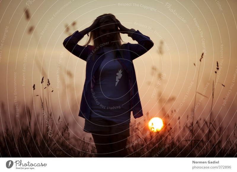 Sonnenuntergang feminin Junge Frau Jugendliche 1 Mensch Natur Sonnenaufgang Sonnenlicht Sommer Wetter Schönes Wetter gehen genießen Glück gelb rot