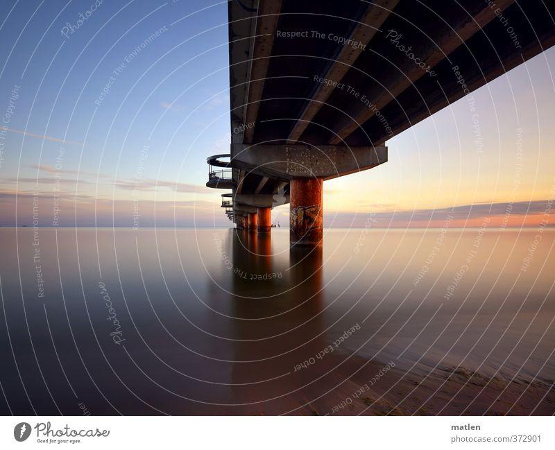 pier II Landschaft Wasser Himmel Wolken Horizont Sonne Sonnenaufgang Sonnenuntergang Wetter Schönes Wetter Küste Meer Menschenleer blau braun violett Seebrücke