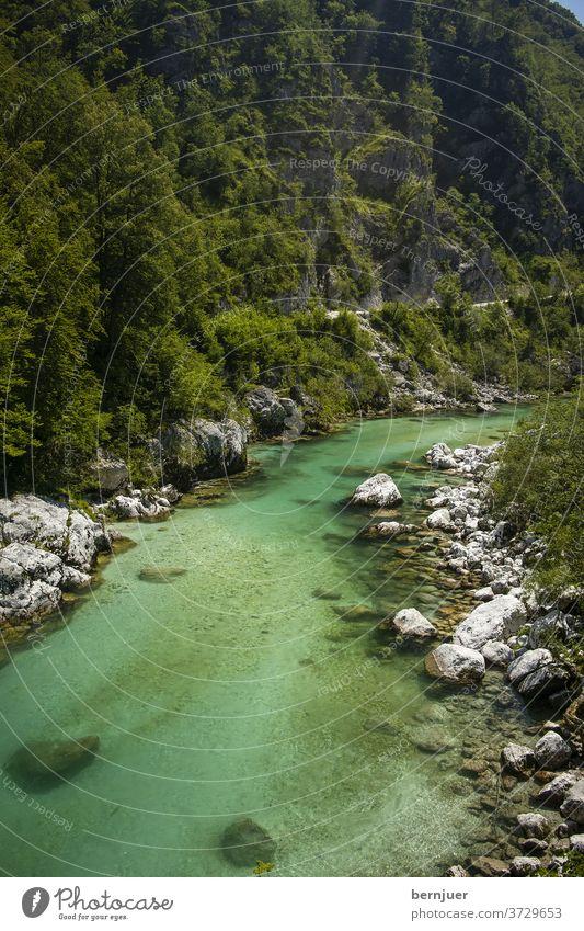 soca Fluss in Slowenien im Sommer Landschaft wild Schlucht im Freien Abenteuer fließend Wasser Grün Triglav Berg türkis alpenländisch Wald Reisen Rafting Natur