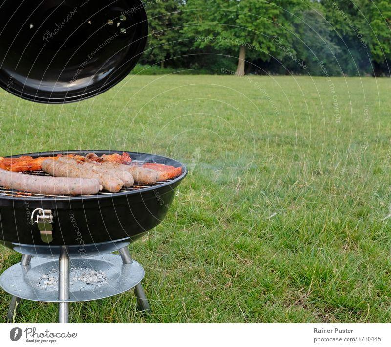 Grillsaison: Barbecue-Grill mit Steaks und Würstchen im Park Hintergrund grillen Rindfleisch Holzkohle Koch Essen zubereiten lecker Feuer Lebensmittel Gras