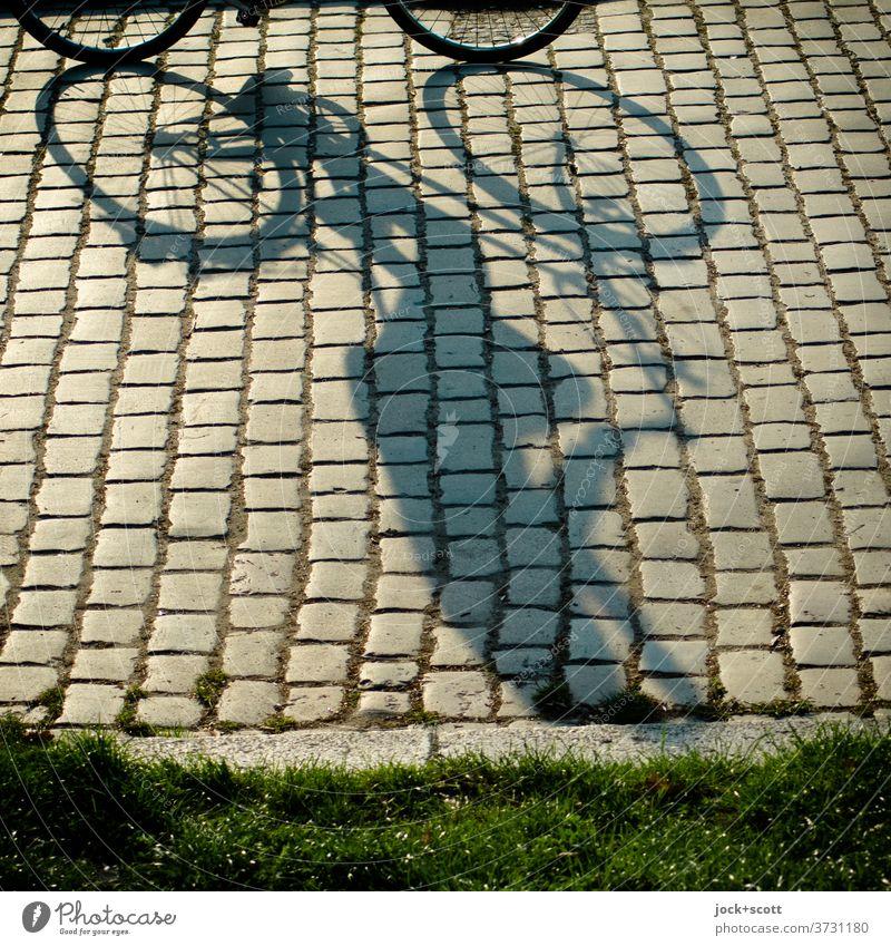 Sonnenschein auf dem Weg mit dem Rad Fahrradfahren Sommer Wege & Pfade Kopfsteinpflaster Prenzlauer Berg Stimmung lang Mensch Gelassenheit Mobilität Perspektive