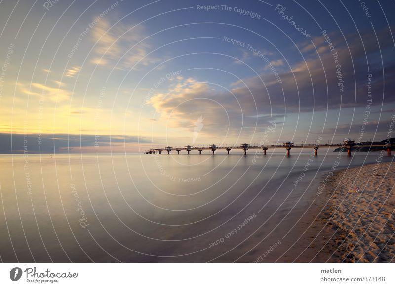 bis zum Horizont Landschaft Himmel Wolken Sonnenaufgang Sonnenuntergang Wetter Schönes Wetter Küste Strand Bucht Meer blau braun weiß Seebrücke Sandstrand Ruhe
