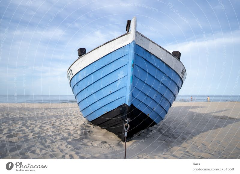 Boot am Strand Küste Meer Fischerboot Menschenleer Usedom Ferien & Urlaub & Reisen Textfreiraum oben Sommer Sand Ostsee Tourismus Außenaufnahme Insel