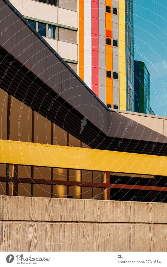 farbkombination / happy birthday photocase / schöne grüße an willma Architektur Architekturfotografie Gebäude bunt Hochhaus Fassade Linien abstrakt Farbe urban