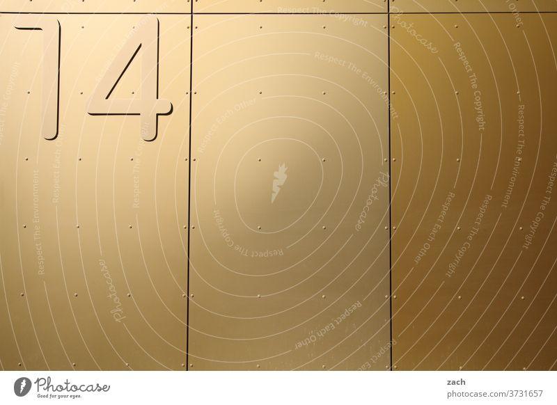 14 Wand Schriftzeichen Mauer Fassade Ziffern & Zahlen Haus Schilder & Markierungen Hausnummer Gedeckte Farben gold gelb beige Nummer