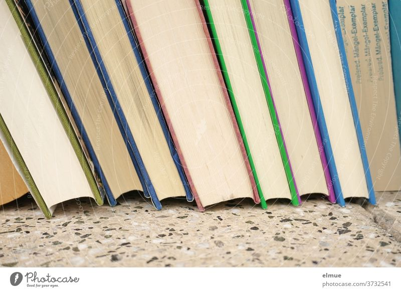 eine Reihe von Büchern unterschiedlicher Einbandfarbe mit einem gekennzeichneten Mängel-Exemplar Buch Mängelexemplar viele Wissen Information Literatur