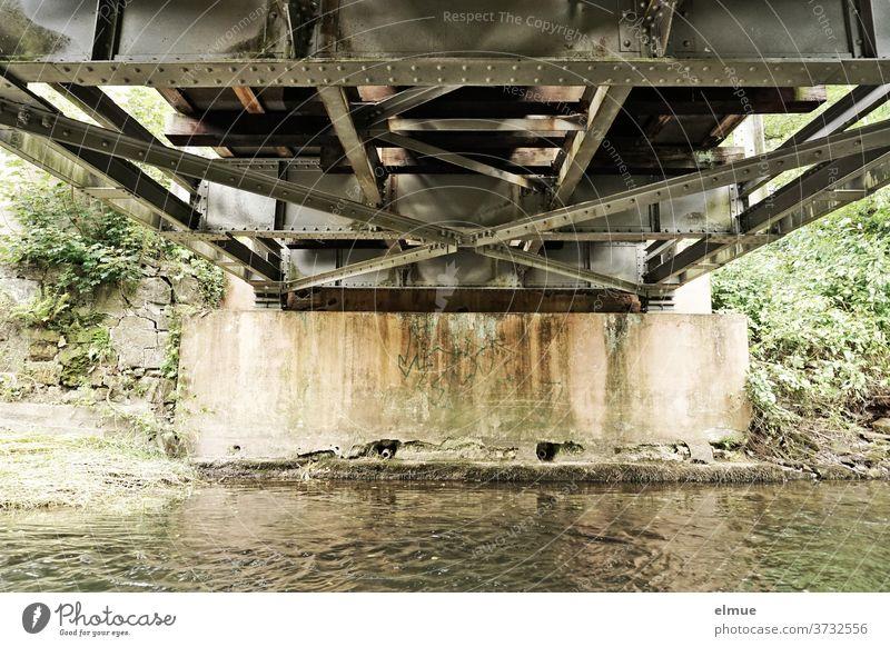 Blick auf die Unterseite einer kleinen Stahlbrücke, die einen Fluss überspannt Brücke Metall Eisenbahnbrücke Brückenpfeiler Brückenkonstruktion Niete Wasser