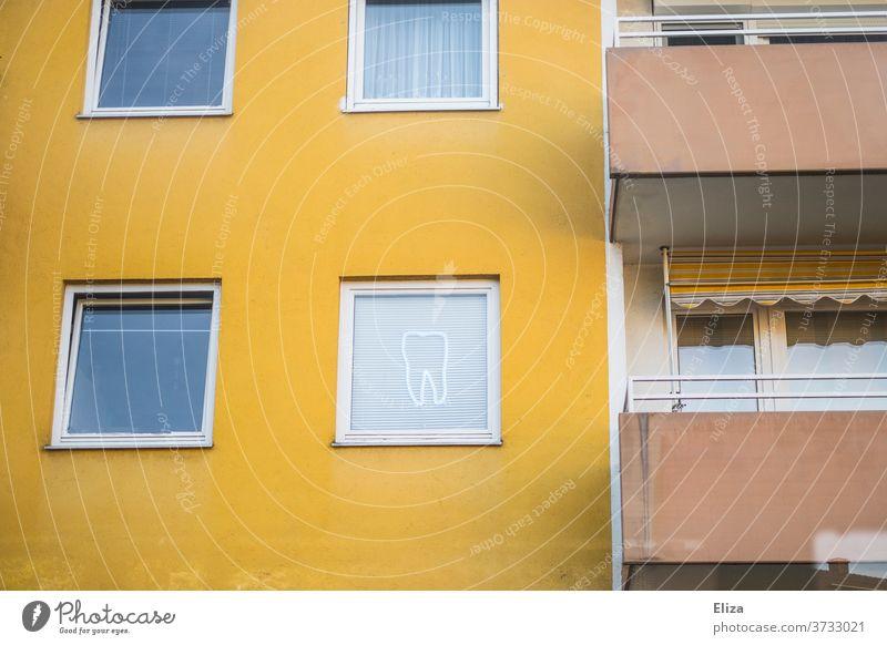 Zahnarzt zahnarztpraxis Fenster Dekoration Fassade Zahnmedizin dental gelb Leuchtreklame Hauswand