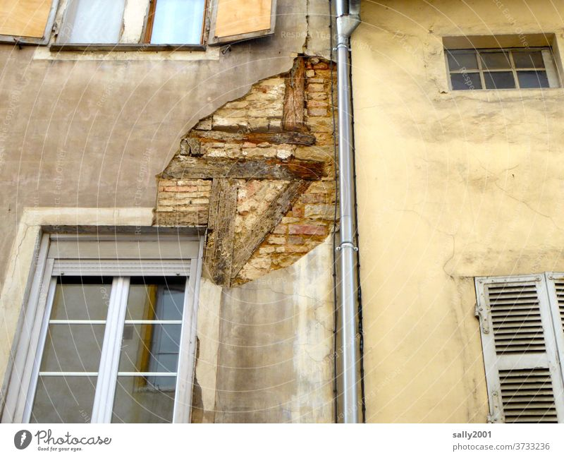 hinter die Fassade blicken... Fachwerk alt baufällig Backstein abblättern renovierungsbedürftig Haus Mauer Mauerwerk runtergekommen Holzbalken kaputt