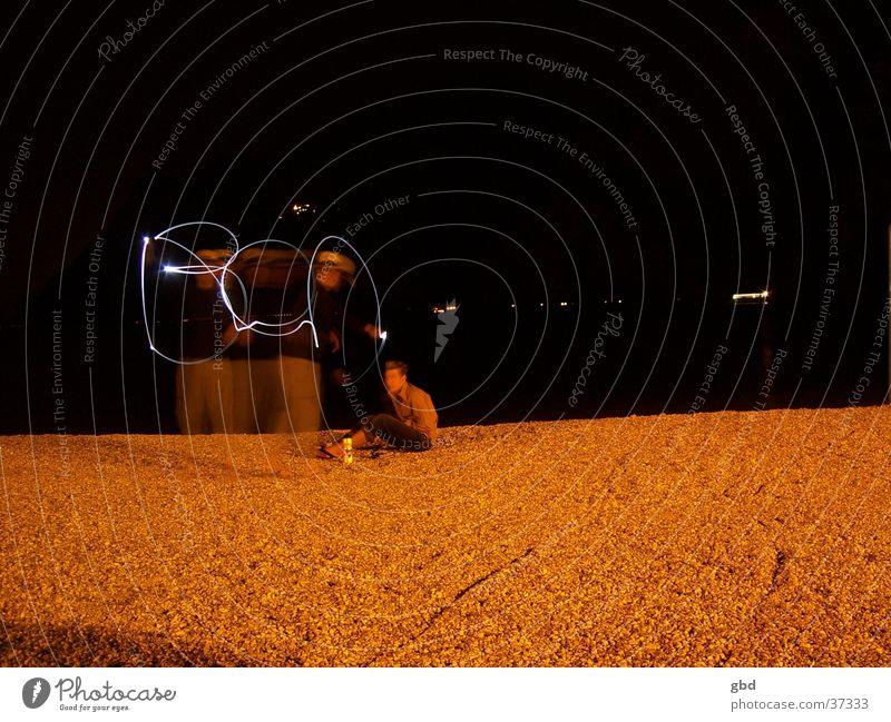 Ben Strand Nacht Licht Taschenlampe Gardasee Langzeitbelichtung ben