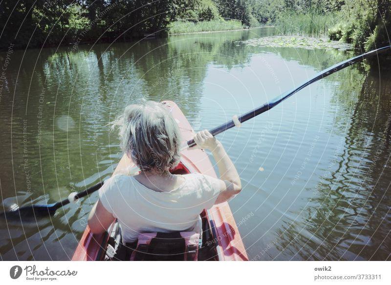 Gleitende Arbeitszeit Freizeit & Hobby Ausflug Frau Rücken Arme Hinterkopf Mensch Umwelt Natur Schönes Wetter Sommer Wasser Landschaft Kanal Paddel Erholung
