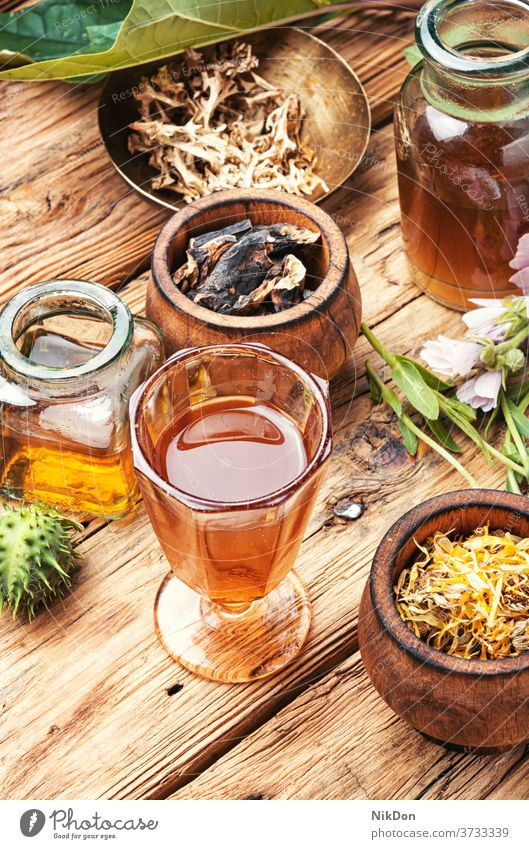 Tinktur und gesundes Kraut medizinisch Wurzel Medizin Kräuterbuch Pflanze Gesundheit Glas Flasche trinken Elixier alternativ Blume Ringelblume Behandlung