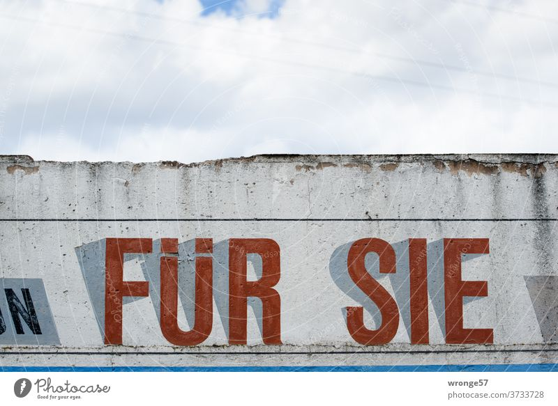 Werbung > FÜR SIE < in Großbuchstaben auf eine Wand geschrieben Schrift Schriftzeichen Text für sie alt Wandmalereien Wort Menschenleer Farbfoto Tag