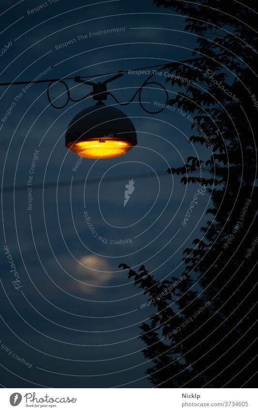 orangene Straßenlampe  vor Abendhimmel mit Vollmond in Unschärfe Stimmung romantisch Nacht Mond Straßenlaterne Laterne Lampe Amsterdam blau Silhouette Dämmerung