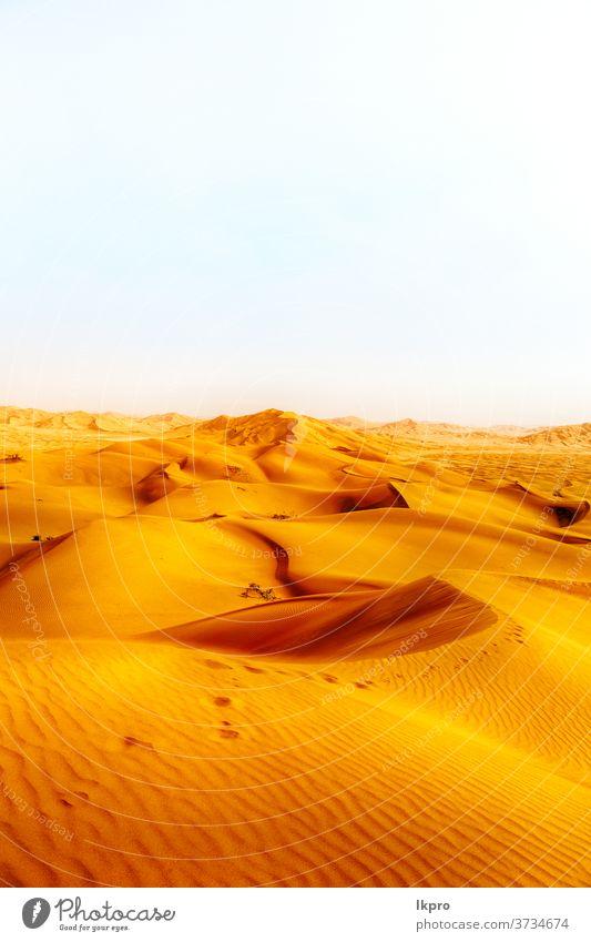in der alten wüste omans rub al khali das leere viertel und die draussen liegende sanddüne gelb golden Felsen reiben sie al khali leeres Quartal Abenteuer
