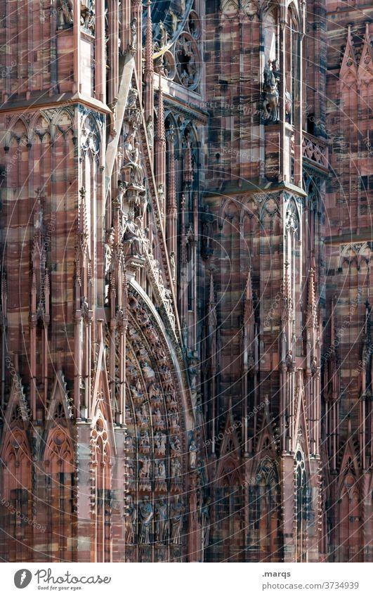 Straßburger Münster Religion & Glaube Gotteshäuser Dom Gemäuer Kathedrale historisch Architektur Städtereise Frankreich Wahrzeichen Stadt Elsass Sightseeing