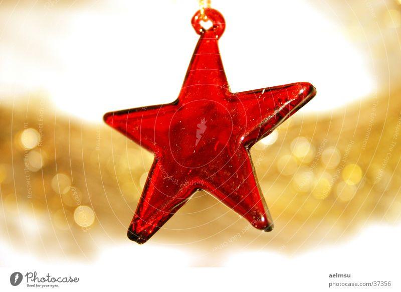 Stern aus Glas II rot durchsichtig Schmuck festlich Haken Dekoration & Verzierung Stern (Symbol) gold Feste & Feiern Weihnachten & Advent