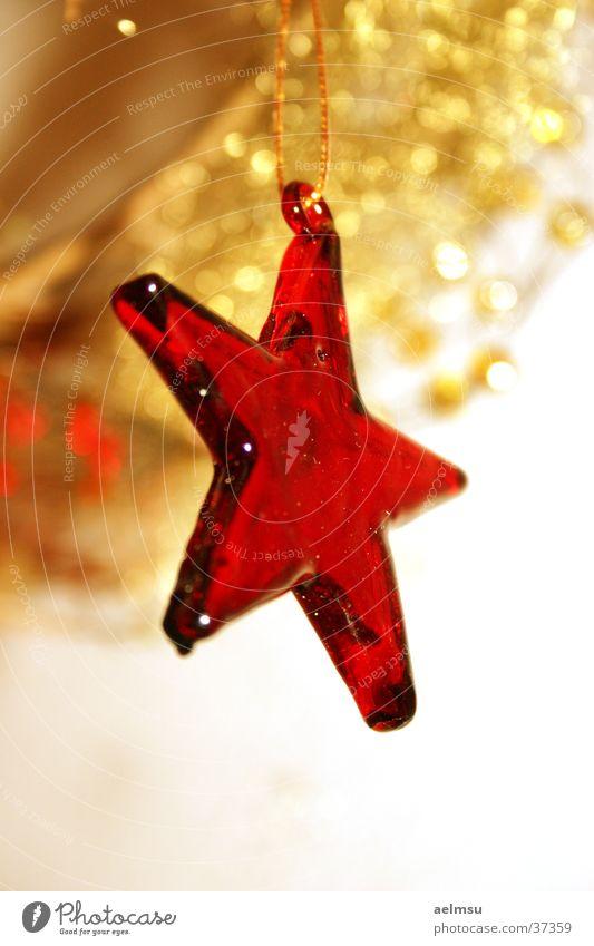 Stern aus Glas I rot durchsichtig Schmuck festlich Haken Dekoration & Verzierung Stern (Symbol) gold Feste & Feiern Weihnachten & Advent