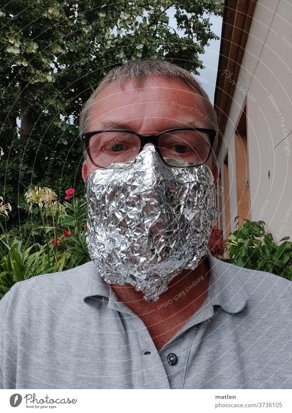 Mundnasenschutz Aluminium Mann Baum Brille Aluhut Sicherheit Schutz corona adaptiert