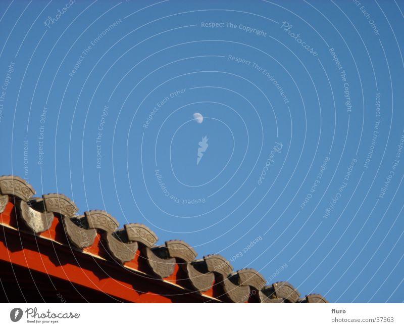 moonrayed chinese garden Himmel blau Dach Mond Chinesisch