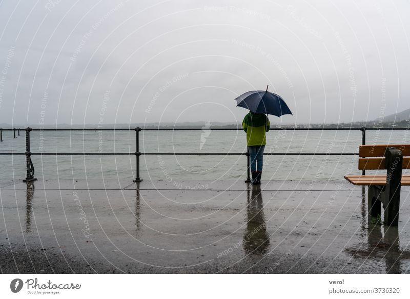 See-Schirm-Regen-Promenade Textfreiraum oben Querformat Textfreiraum links Textfreiraum rechts Textfreiraum unten Kind Leben Mensch raindrop water umbrella