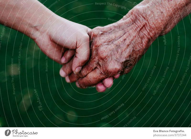 Nahaufnahme einer Dame, die mit einer jungen, nicht wiederzuerkennenden Frau Händchen hält. Zwei Generationen Händchenhalten abschließen alte Dame Junge Frau
