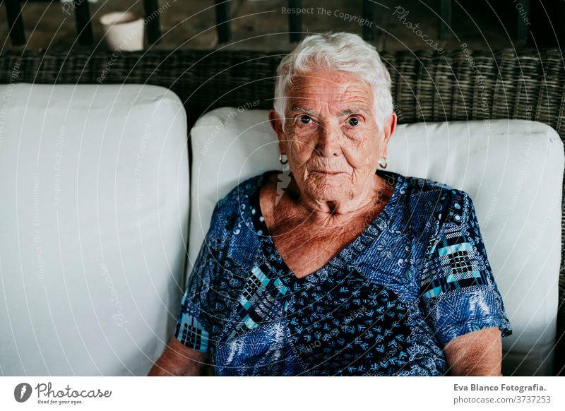 Porträt einer alten Dame in den 80er Jahren, die entspannt zu Hause sitzt. Frau älter heimwärts garrotte weiße Haare graue Haare mental Einsamkeit nachdenklich