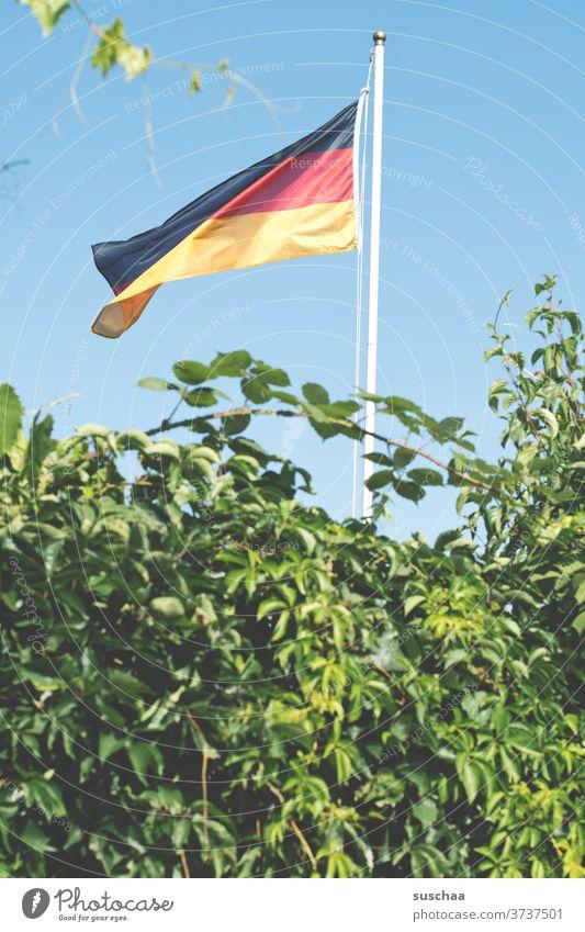 deutschlandfahne in einem schrebergarten Deutschlandfahne Fahne Deutsche Flagge Fahnenmast Patriotismus Wind Nationalflagge schwarz-rot-gold Garten