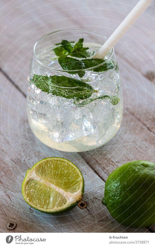 Lemon Soda Wasser Getränk trinken frisch Glas kalt Sommer Frucht Cocktail Alkohol Eis Minze Zitrusfrüchte Limonade Erfrischung Blatt Zitrone Eiswürfel Limette