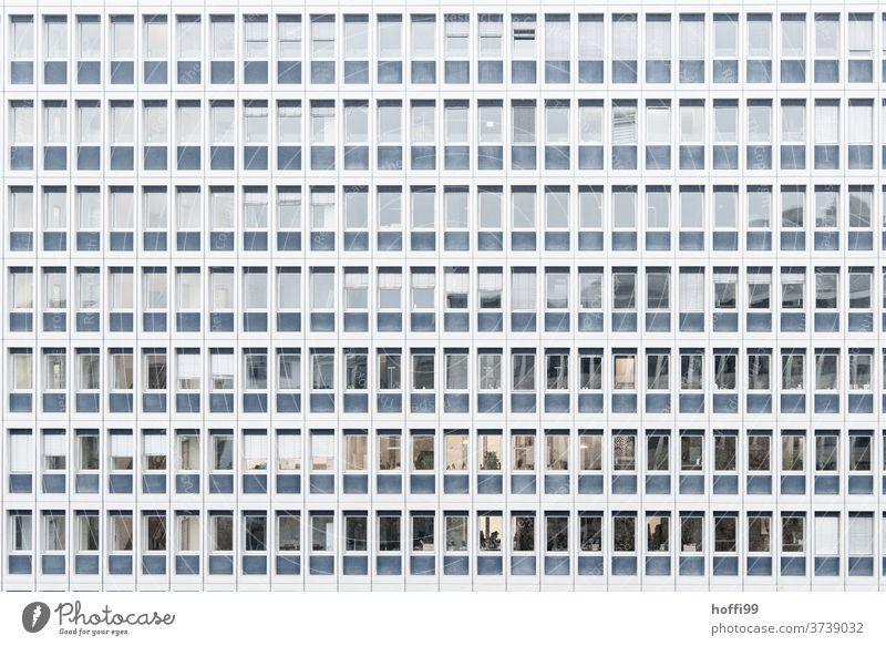 monotone Fassade mit Fenstern Jalousie Fensterscheibe Hochhaus Gebäude Symmetrie abstrakt Ordnung modern Architektur Design Bankgebäude stagnierend Business