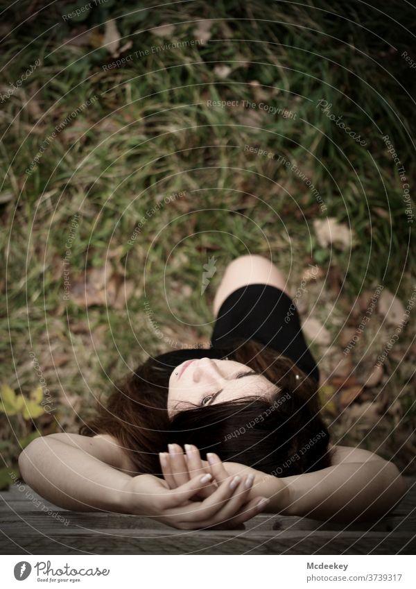 Hände und Nägel Modellierung schießen Schießen Frau Frauen weiblicher Mensch Wald Laufmasche schwarzes Kleid langhaarig Porträt Mädchen Schönheit schön jung