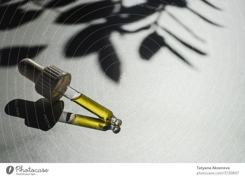 Glaspipette mit einer Dosis ätherischem Öl Erdöl notwendig Tropfer Pipette Kräuterbuch Medizin organisch Aroma Gesundheit Duft Behandlung liquide Kosmetik