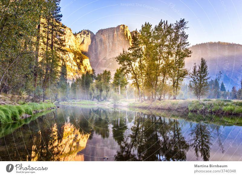 El Capitan spiegelt sich am Morgen kurz nach Sonnenaufgang in einem See, Yosemite National Park, Kalifornien USA orange golden national yosemite Felsen Kapitän