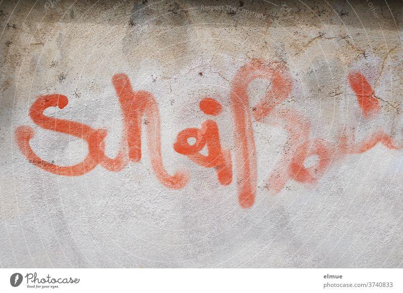 """""""Scheiß ..."""" musste jemand in orangefarbener Handschrift auf der grauen Wand verewigen Scheiße Schmiererei Graffiti Graffito Schrift Schimpfwort od Fassade"""