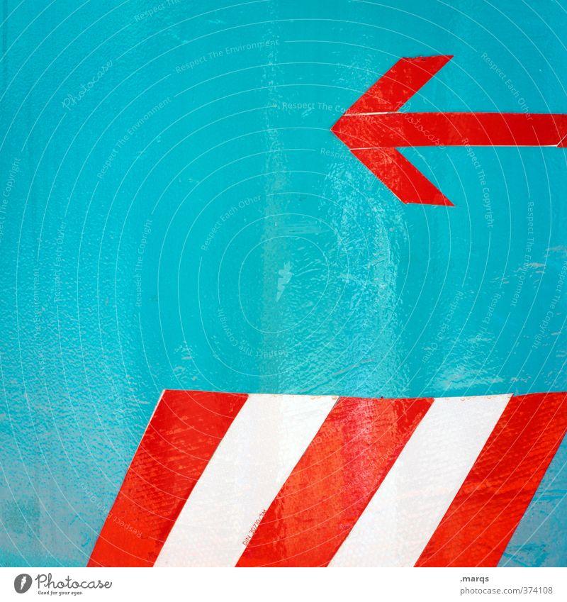 PlayBACK Stil Design Zeichen Schilder & Markierungen Linie Pfeil Streifen außergewöhnlich einfach rot türkis weiß Beginn links zurück Richtung Richtungswechsel