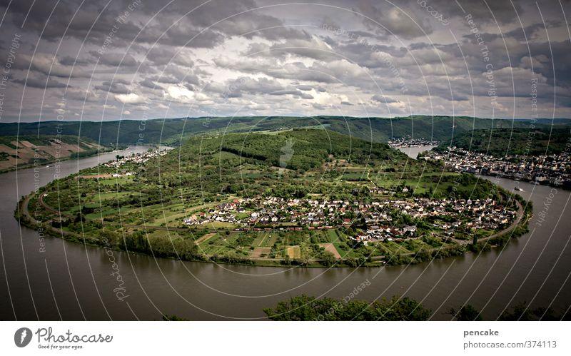 erdscheibe Natur Landschaft Urelemente Himmel Wolken Flussufer Rhein Kleinstadt Haus Sehenswürdigkeit Schifffahrt Binnenschifffahrt Seilbahn Schleife