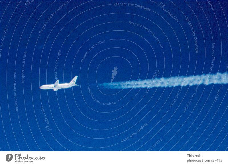 American Airline on Air Luftverkehr Flugzeug Kondensstreifen schön Himmel blau Wetter Ferien & Urlaub & Reisen Güterverkehr & Logistik