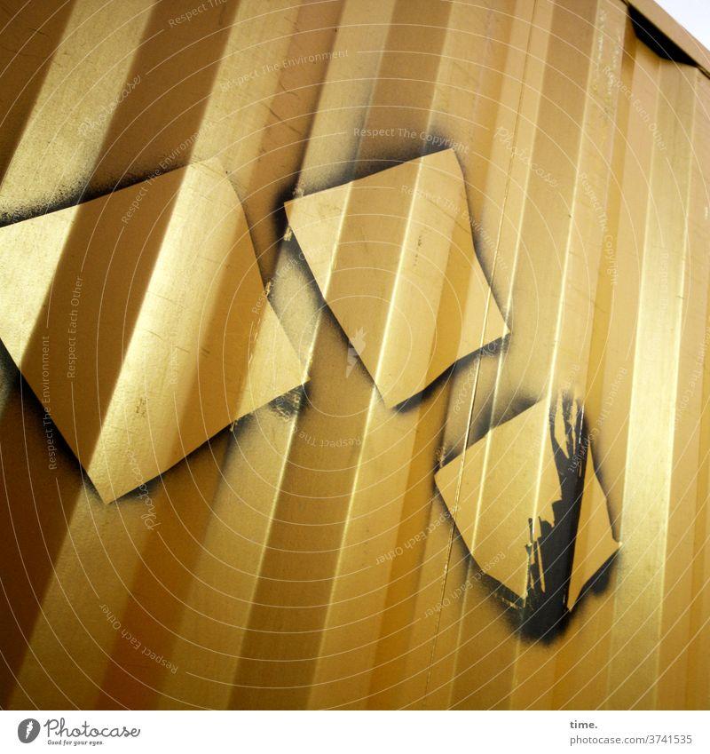 Goldrausch container gold gelb markierung linien metall gesprüht abdruck rätsel verzeichnung optische täuschung