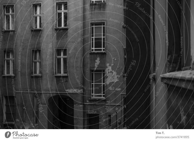 Hinterhof Berlin Monochrom Haus Fenster Fassade Stadt Altbau Menschenleer Stadtzentrum Prenzlauer Berg Altstadt Hauptstadt Tag Außenaufnahme Bauwerk Gebäude