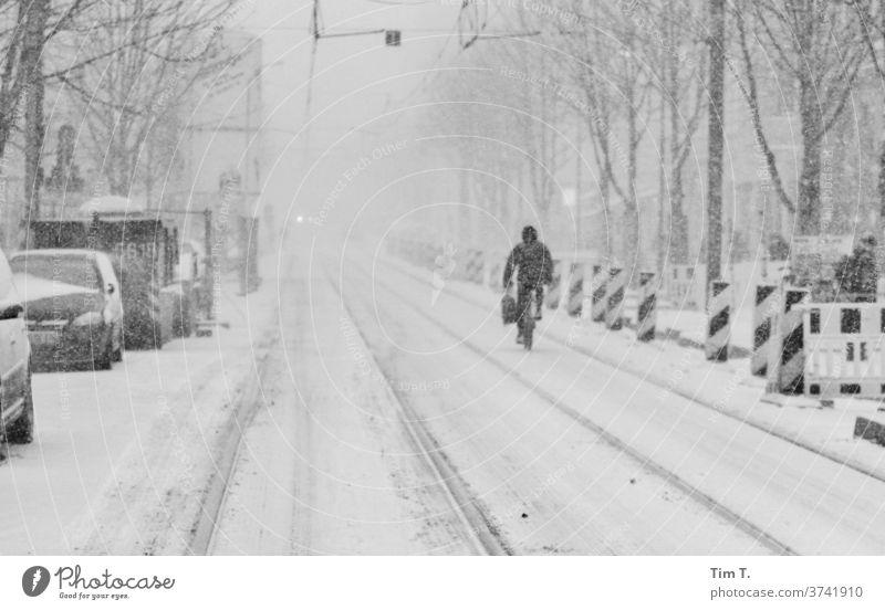 das waren Winter Berlin Prenzlauer Berg Schnee Stadt Stadtzentrum Hauptstadt Altstadt Außenaufnahme Tag Schwarzweißfoto Straße Verkehr Gleise kastanienallee