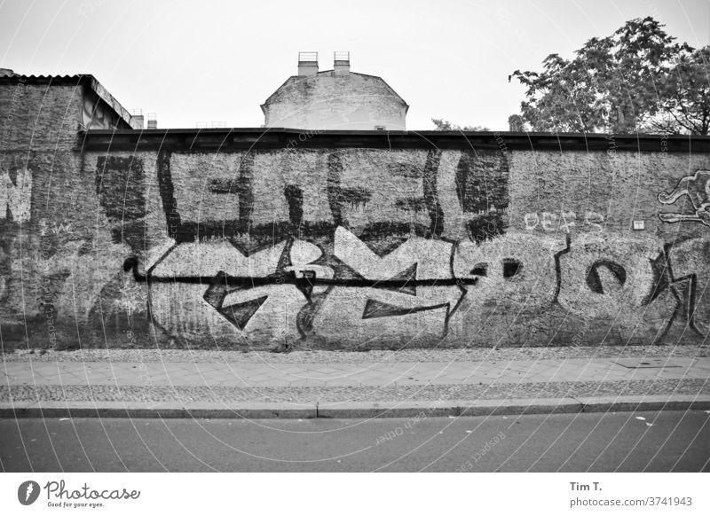 Berlin Lichtenberg ist noch besonders Graffiti Schwarzweißfoto Stadt Außenaufnahme Hauptstadt Tag Menschenleer Stadtzentrum Altstadt Haus Altbau Gebäude