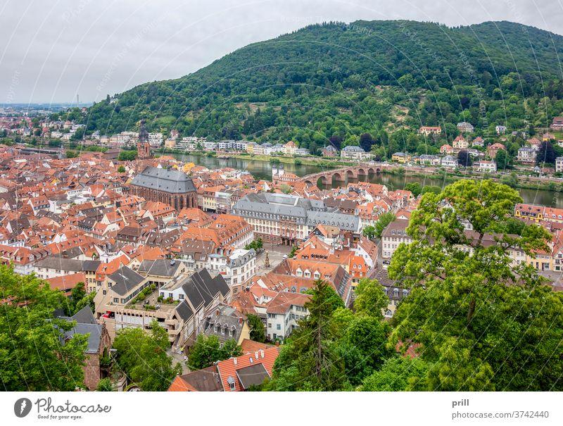Luftaufnahme von Heidelberg luftaufnahme erhöhter blickwinkel Stadt universitätsstadt Neckar Fluss deutschland altstadt architektur Haus Gebäude kirche