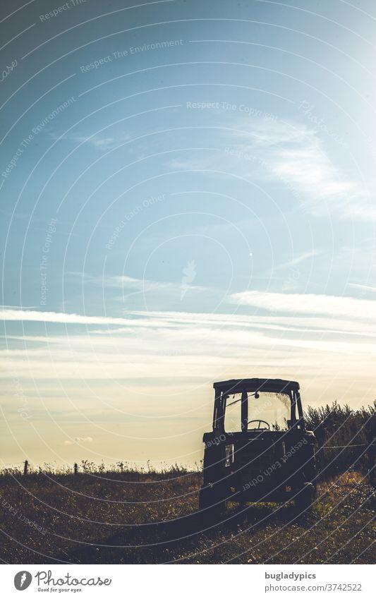 Traktor/ Trecker im Gegenlicht vor Abendhimmeln mit leichter Bewölkung. Wiese Abenddämmerung Abendsonne Abendsonnenlicht Sonnenuntergang Licht Himmel Natur