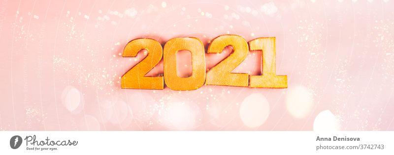 Frohes neues Jahr 2021 Nummer Ziffer Neujahr Silber Vorabend Termin & Datum Januar feminin rosa Dekoration & Verzierung Weihnachten Glitter glänzend Kalender