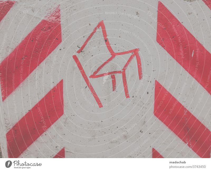 Vorsicht kippender Stuhl Warnung Hinweis Linien Kunst Warnhinweis Schilder & Markierungen Zeichen Sicherheit gefährlich Gefahr Verkehr Außenaufnahme Risiko rot