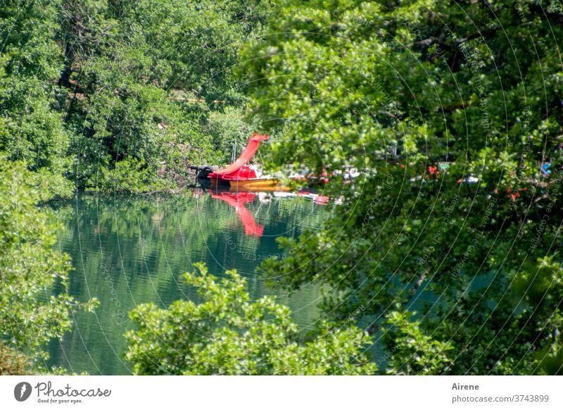 Ausrutscher See Wald Waldsee Rutschbahn rot knallrot Wasserrutsche Vergnügen Freibad Naturfreibad Badespaß Spaß Wasserspiele plantschen rutschen Spielplatz