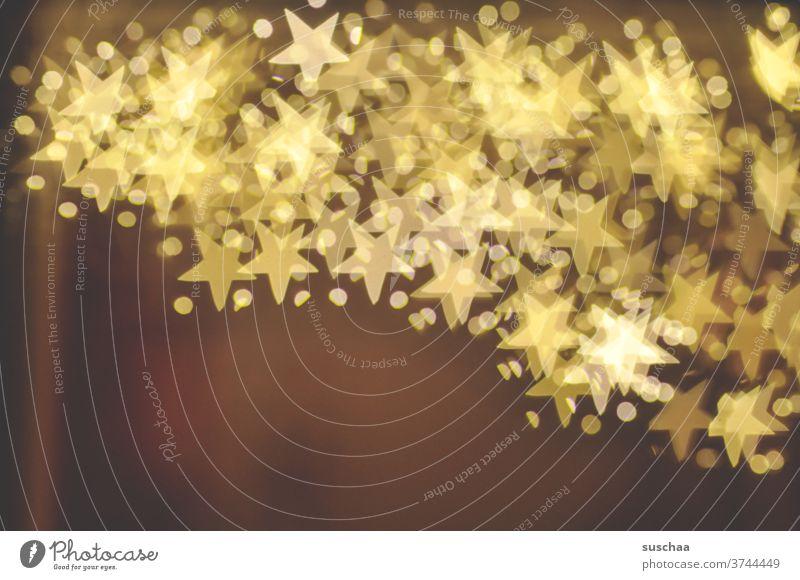 sterne über sterne Sterne Bokeh abstrakt Licht leuchtend Dekoration & Verzierung Außenaufnahme Weihnachten Unschärfe Hintergrund Design Weihnachten & Advent