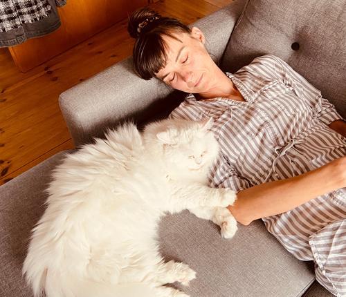 Ausruhen mit Katze schlafen Erholung Haustier ruhig Hauskatze Zufriedenheit