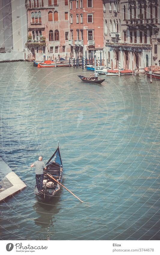 Ein Gondoliere in seiner Gondel auf dem Canal Grande in Venedig Wasser Gondel (Boot) Italien Städtereise Sehenswürdigkeit Kanal traditionell Altstadt