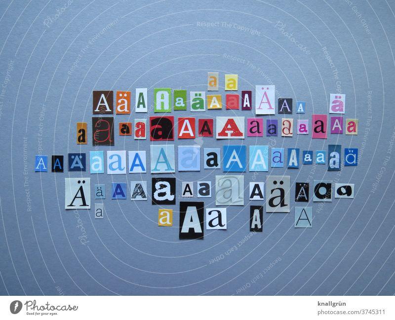 Aa Buchstaben Typographie Schriftzeichen Wort Text Zeichen anonym mehrfarbig Collage ausgeschnitten Zeitschrift Zeitung Printmedien Symbole & Metaphern Papier
